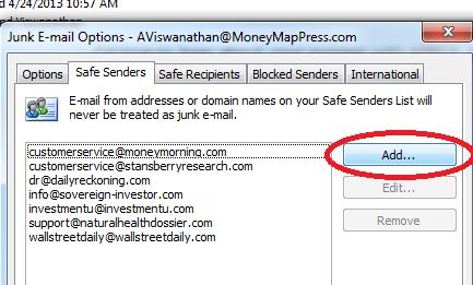 Adding A Safe Sender