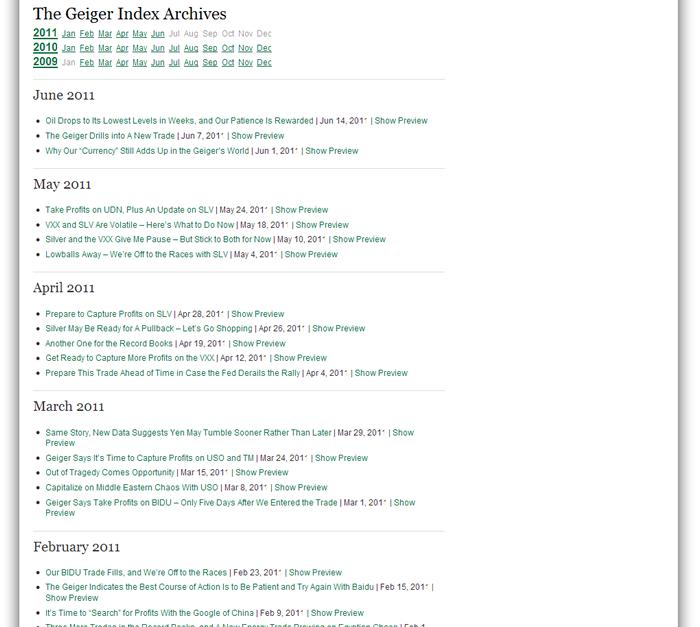 Using the Geiger Index Website