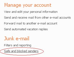 Clicking on Safe & Blocked Senders to Add an Email Address to Hotmail