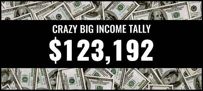 Crazy Big income 123,192 graphic