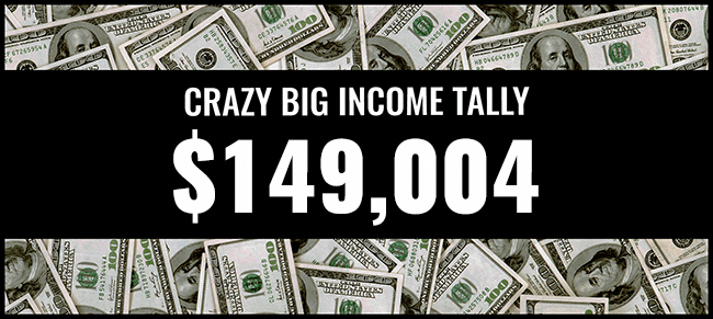 Crazy Big income 149,004 graphic