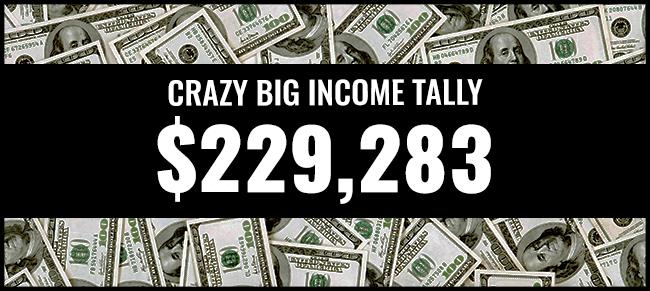 Crazy Big income 229,283 graphic