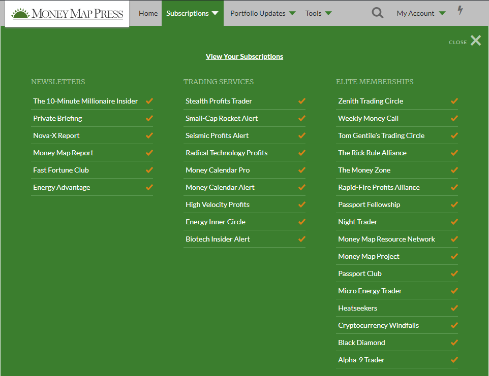 The subscriptions tab on Money Map Press shows all of the current and active subscriptions.