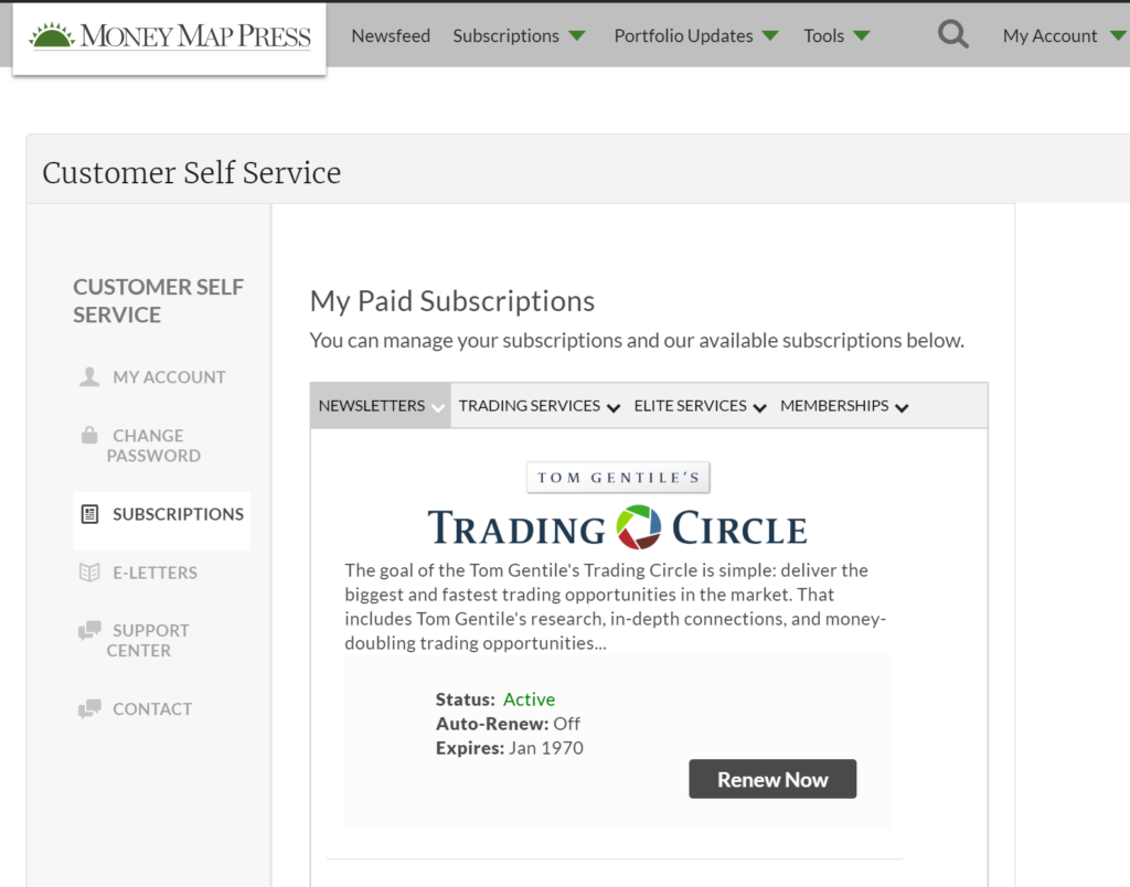 Image of the customer self-service portal with options to manage current subscriptions.