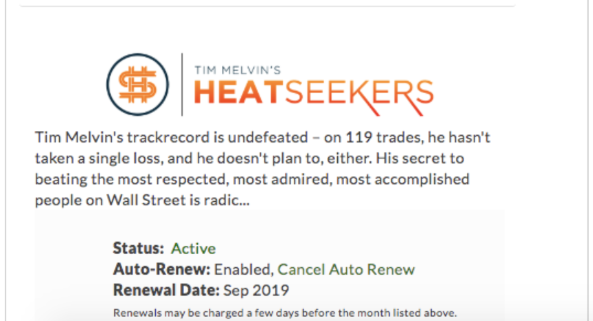 Heatseekers cancel auto-renew